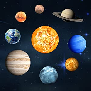 Amaonm Set of 9 Glow in The Dark Solar System Planet Wall Decals Removable DIY Sun Earth Wall Stickers Glowing Stars Luminous Wall Decor for Kids Boy and Girl Bedroom Ceiling Nursery Room Living Room