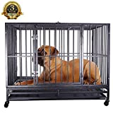 Haige Pet Heavy Duty Dog Crate Cage Folding Strong Metal Pet Kennel Playpen with Wheels and Tray, I Shape