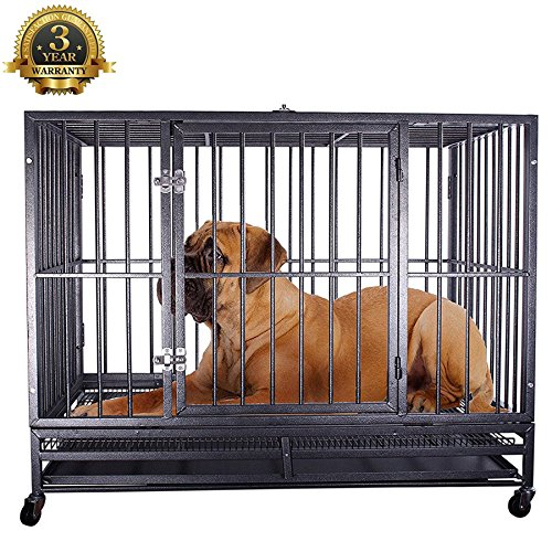 Haige Pet Heavy Duty Dog Crate Cage Folding Strong Metal Pet Kennel Playpen with Wheels and Tray, I...