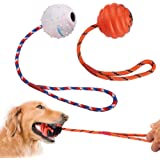 PrimePets 2 Pcs Dog Training Ball on Rope, Solid Rubber Rope Ball for Dog Training, Tug Ball Toy for Medium and Large Dog, Tough Rope Toy,Non-Toxic and Durable Dog Toys