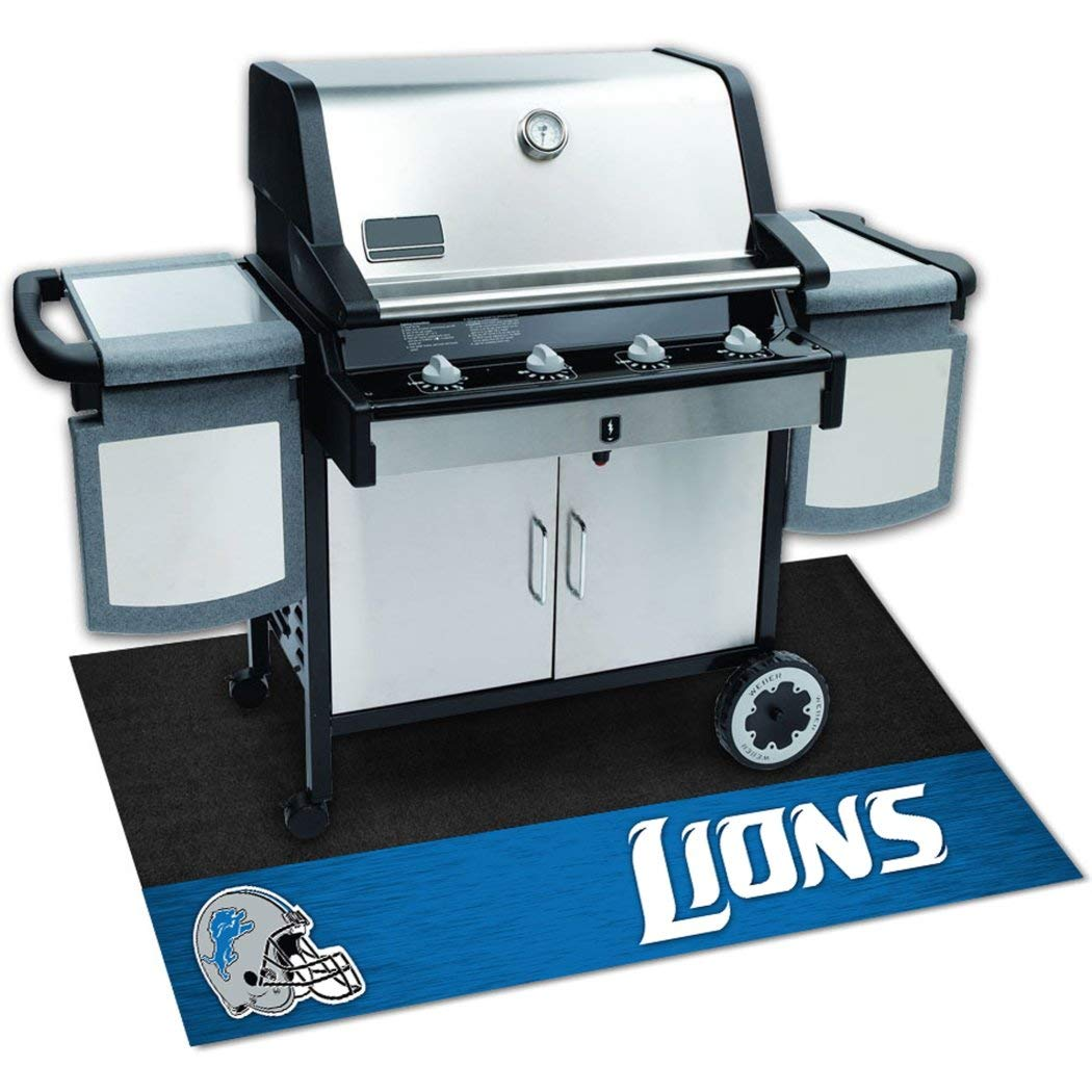 N&T 1 Piece Lions Grill Mat 42 Inch, Football Themed Grill Pad Large Durable Patio Deck Floor Protection Team Logo Fan Merchandise Athletic Team Spirit Fan Black, Padded Vinyl by N&T