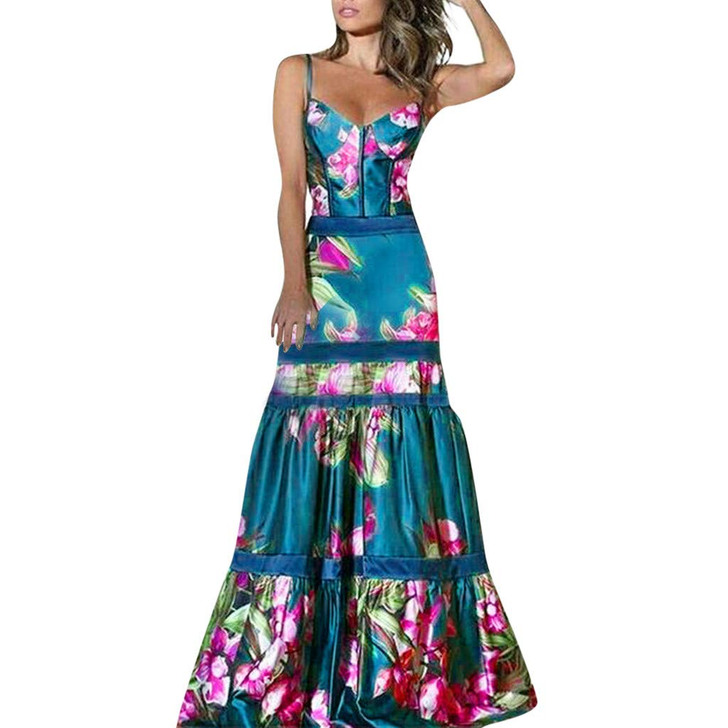 Maxi Dresses for Women,Sexy Elegant Spaghetti Strap Cami Cocktail Formal Dress Bohemia Floral Fishtail Hem Bodycon Dress Blue