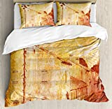 Burnt Orange Duvet Cover Set King Size by Ambesonne, Retro Illustration of A Street of Old French Houses Mediterranean Environment Print, Decorative 3 Piece Bedding Set with 2 Pillow Shams, Tan