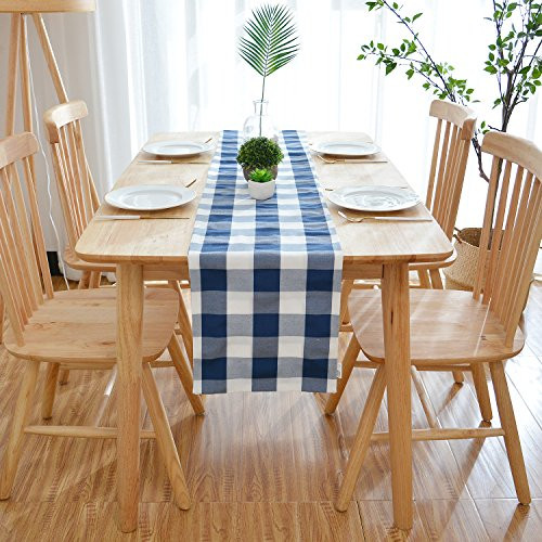 NATUS WEAVER Navy & White Buffalo Check Table Runner Cloth 2 Side for Family Dinners or Gatherings, Indoor or Outdoor Parties, Everyday Use (12 x 108, Seats 8-10 People) ()