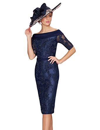5737d1e371 Newdeve Women s Mother Of The Bride Dresses Navy Blue Short Knee-length  Formal Dress at Amazon Women s Clothing store