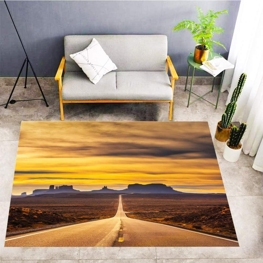 Sunset Carpets,Door Mat Floor Mat,Desert Road Leading to Monument Valley at Sunset,Living Room Carpet Bedroom Carpet Doormat,60x39 in