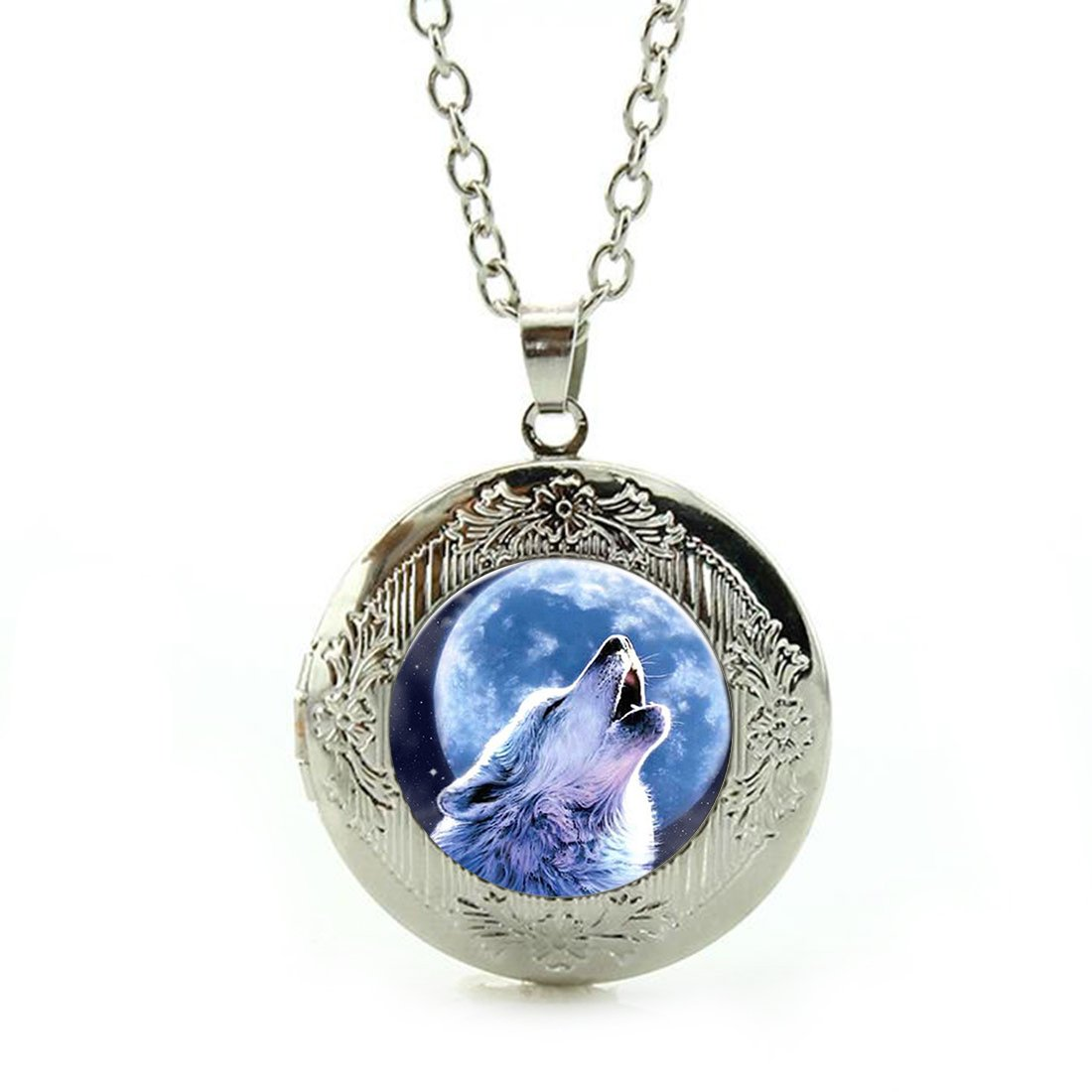Women's Custom Locket Closure Pendant Necklace Lunar Howl Wolf Included Free Silver Chain, Best Gift Set
