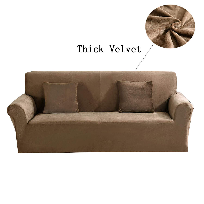 Dicke Sofaüberzüge,1 2 3 4-Sitz-Überwurf,Sofa Schutzüberzug aus SAMT.einfache Passform,Stretch-Material,Couch- Bettüberwurf Größe 4 Seater(235-300cm) (Kamel)