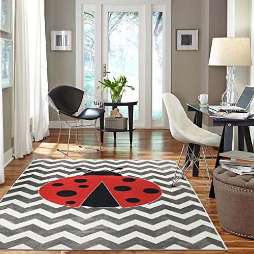 Mohawk Home 12396 416 060096 EC Aurora Little Lady Bug  Chevron Striped Printed Contemporary Kids Area Rug,5'x8',Gray