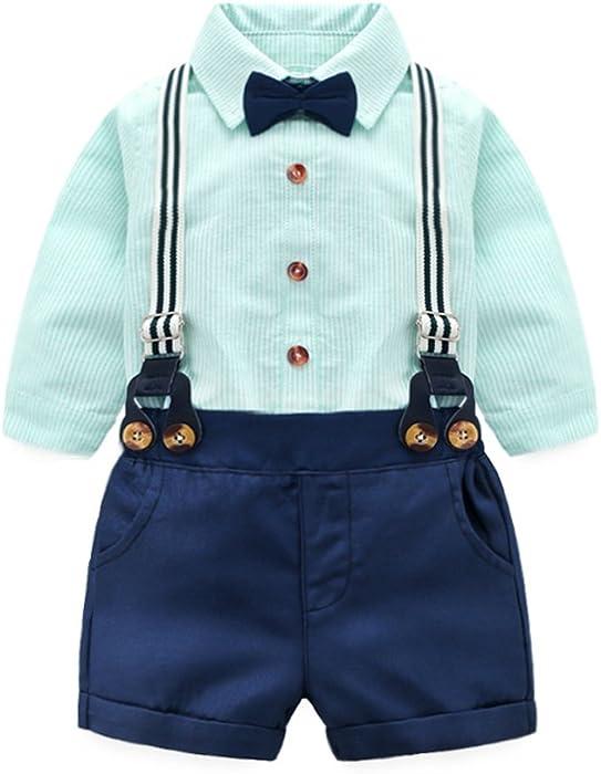 637cfa07cddd Amazon.com  Tem Doger Baby Boys Cotton Gentleman Bowtie Long Sleeve ...