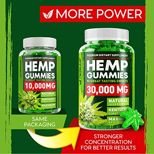 61jzyh8PMOL - Hemp Gummies - 30000 MG - Premium Stress & Anxiety Relief - Made in USA - 100% Natural & Safe Oil Gummies - Mood Enhancer & Immune Support - Rich in Vitamins B, E & Omega 3 - 90 PCS