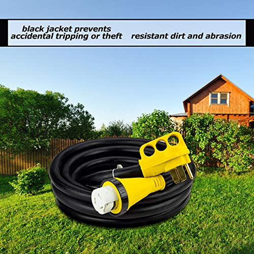 Trek Power RV Extension Cord 50Amp 30FT For Trailer Motorhome Camper with Grip Handle Plug, Locking Connector, Black by Trek Power (Image #3)