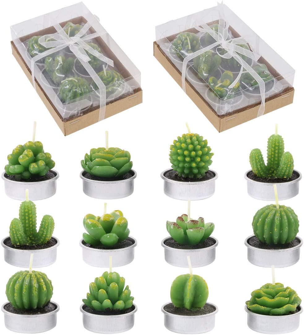 Glarks 12-Pieces Handmade Delicate Succulent Cactus Artificial Succulents Tealight Candles Perfect for Birthday Party Valentine's Day Wedding Spa Home Decor and DIY Gift