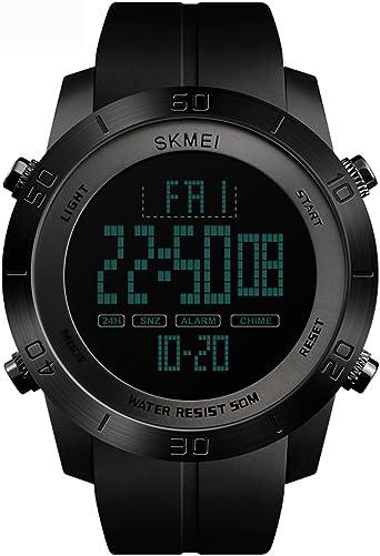 Tayhot - Reloj digital para hombre, color negro, 50 m, resistente al agua, con alarma/temporizador, al aire libre, militar, LED, luz de fondo, para hombres, deportes, correr, senderismo/adelgazamiento