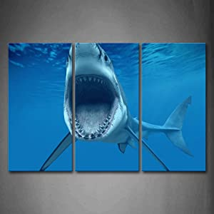 Firstwallart Big Shark Near Sea Surface Open Mouth In Blue Sea Wall Art Painting The Picture Print On Canvas Animal Pictures For Home Decor Decoration Gift