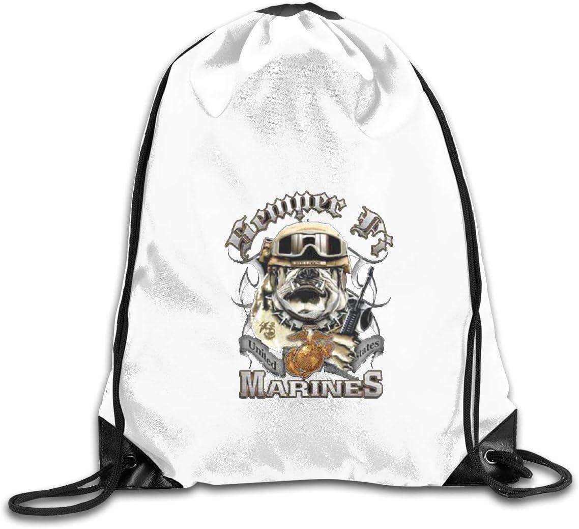 Semper Fi US Marine Corps Drawstring Bags Eat Sleep Dance Repeat Beam Mouth Backpack Basketball Tennis Gympack
