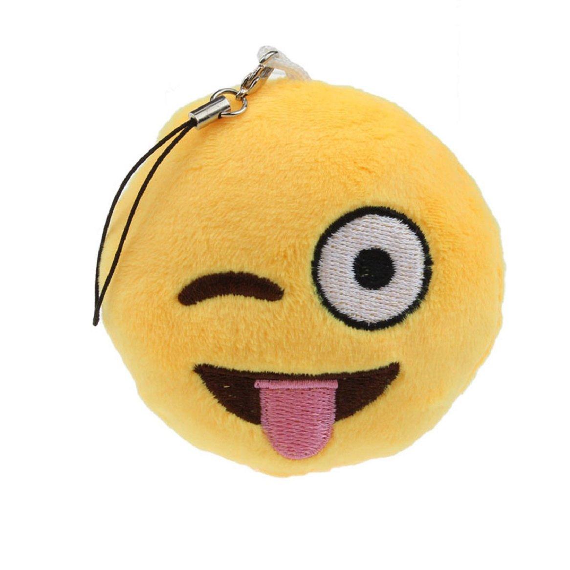 Chianrliu® Emoji Lindo Emoticono Sonriente Llavero De Juguete Suave Bolsa De Regalo Colgante Accesorio (Travieso)