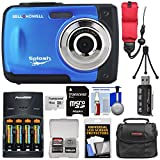Bell & Howell Splash WP10 Shock & Waterproof Digital Camera (Blue) with 16GB Card + Batteries & Charger + Case + Tripod + Float Strap Kit
