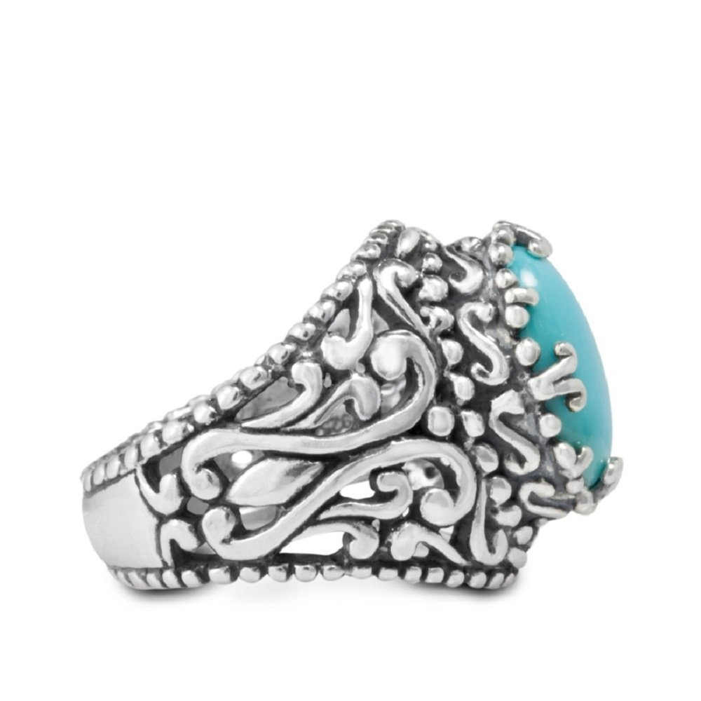 Relios Sterling Silver Sleeping Beauty Turquoise Filigree Vintage Design Ring