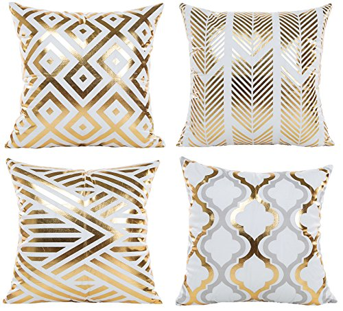 Gold Cushion Cover - BLUETTEK Modern Vibrant Gold Foil Print Metallic Shiny Soft Pillow Covers Set for Bedroom, Living Room, Couch (Gold Geometry Set of 4)
