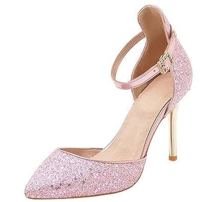 4d38389041b9 Atyche Damen High Heels Glitzer Sandalen mit Schnalle und Stiletto Riemchen  Spitze Pumps Elegante Schuhe