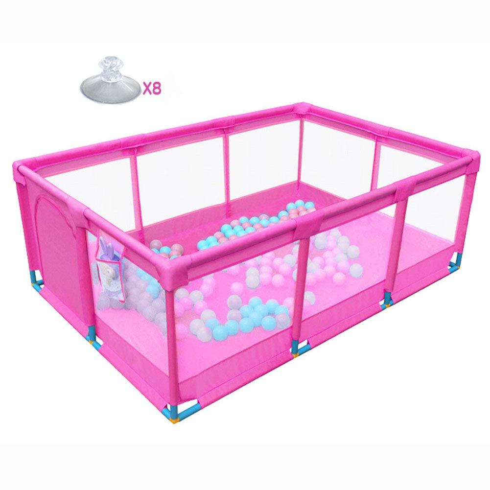 ピンクの折り畳まれた大ベビープレイプ、子供の幼児の少年少女10パネルオックスフォード布、屋内屋外アクティビティエリアフェンス   B07KZ65QSY