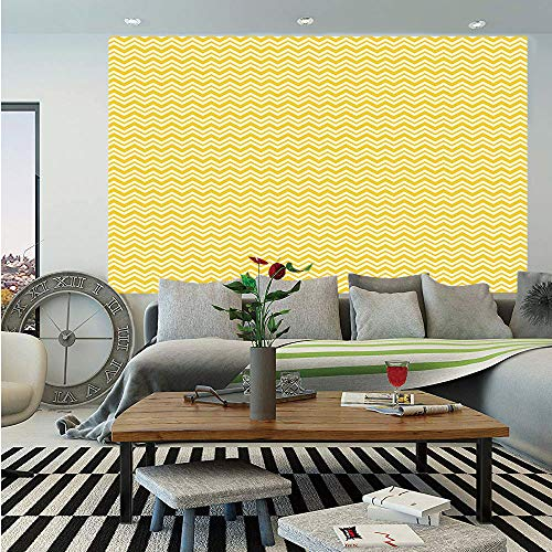 (Geometric Huge Photo Wall Mural,Chevron Zigzags Herringbone Pattern Summer Inspirations Abstract Shapes Design,Self-Adhesive Large Wallpaper for Home Decor 100x144 inches,Yellow White)