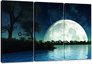 Innopics Nature Landscape Wall Art Moon with Sky Stars Over the Sea Scenery in Quiet Night Landscape Pictures Photography Painting Print on Canvas Framed Modern Home Wall Decor Canvas Art for Living Room Bedroom
