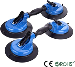 IMT Heavy Duty Dual Vacuum Suction Cup Glass Lifter with Curved Pads, Strength Handheld Stone Handling Tool, 330lb Horizontal Suction Cup