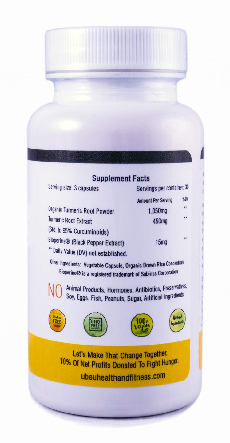 Organic Turmeric 1515mg Max Potency Supplement, 450mg Curcuminoids, 15mg BioPerine – – Anti-Inflamatory, Antioxident, Skin Health, Improves Brain Function, Anti-Depressant.