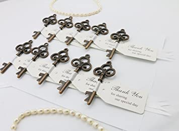 30pcs copper wedding favor skeleton key bottle openers with escort tag ribbon card bridal shower baby - Key Bottle Opener