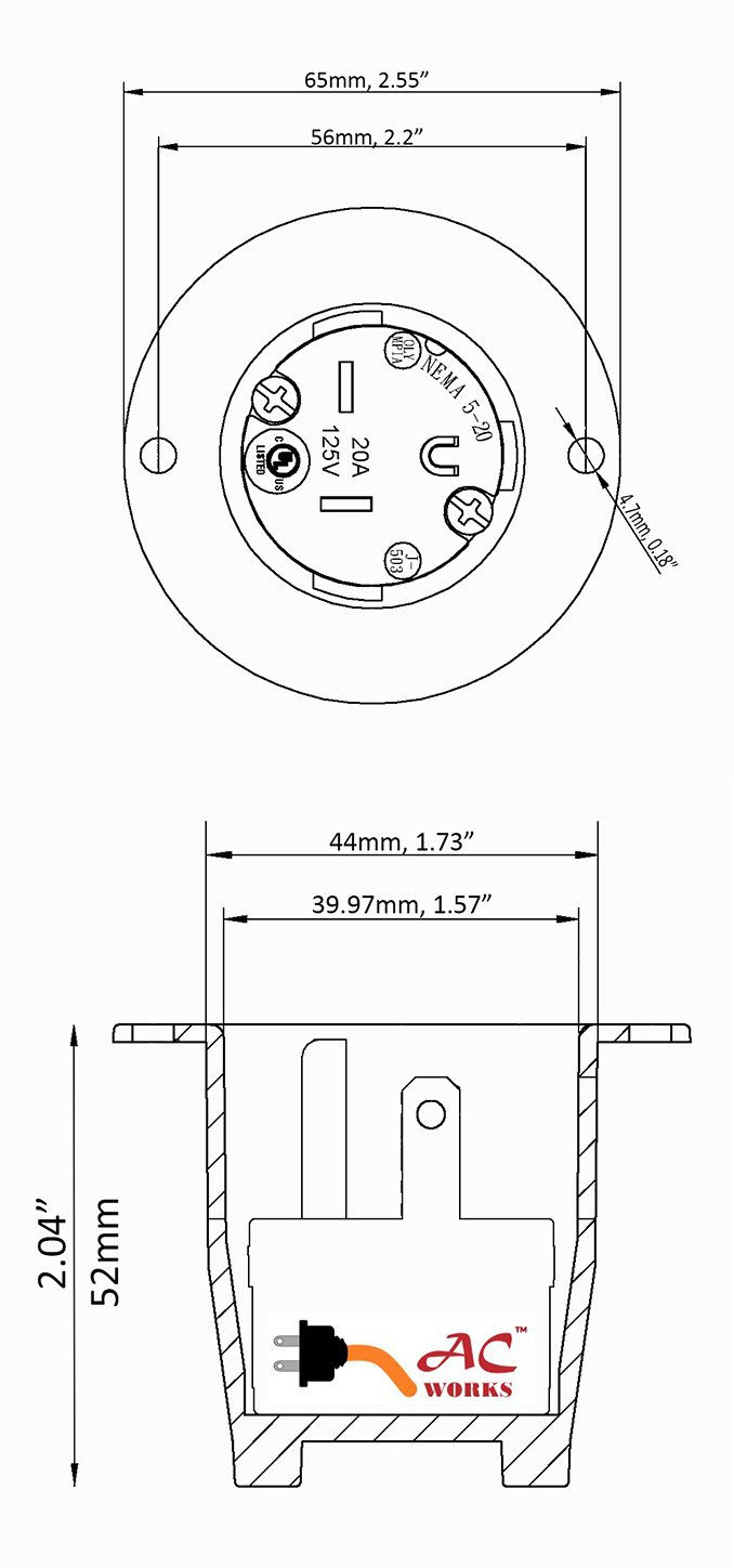 AC WORKS [ASIN520P 20-Amp 125-Volt NEMA 5-20P Flanged Power Input Inlet by AC WORKS (Image #4)