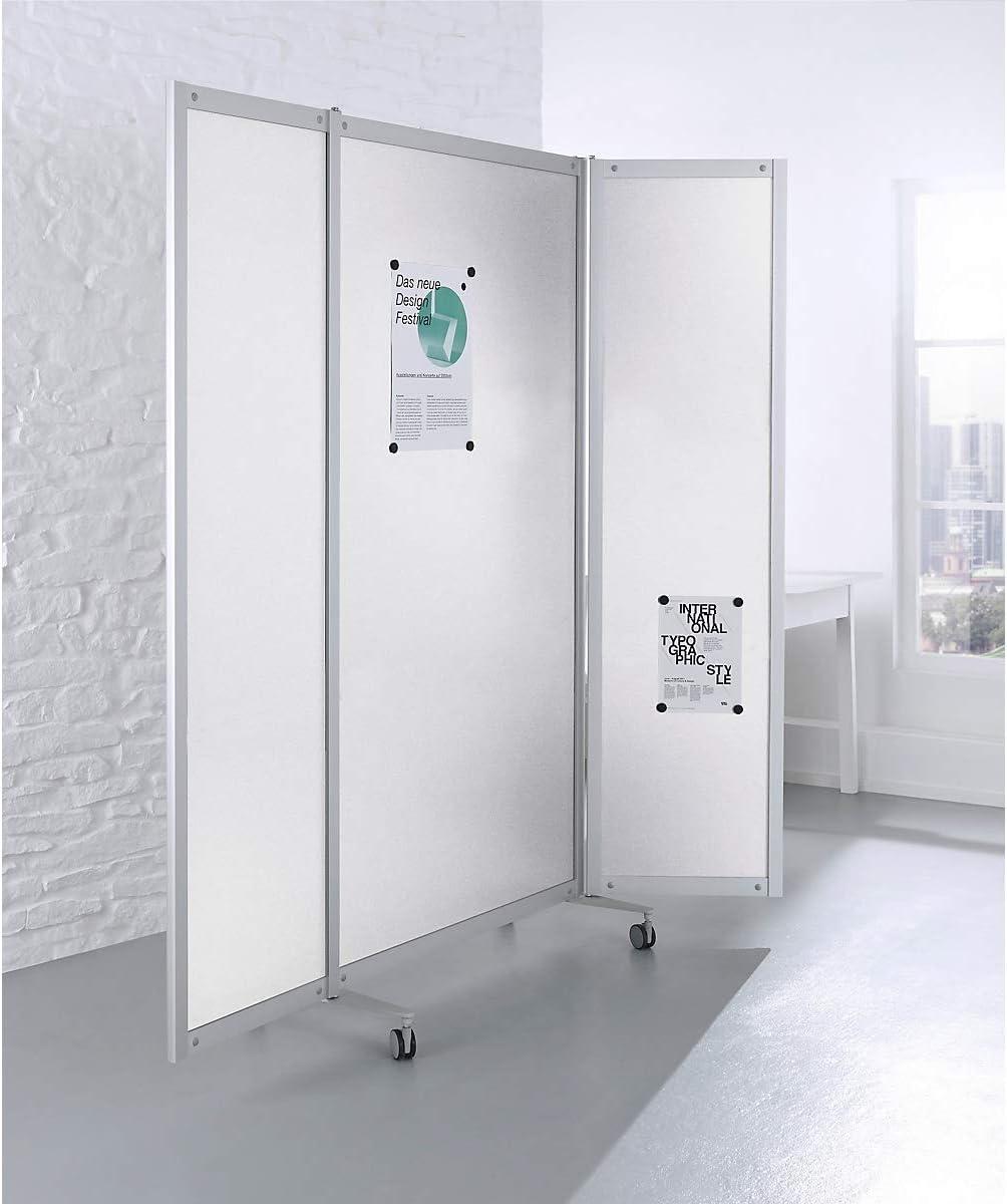 Plegable-tabique, móvil, U 1000/2000 x 40 x 1980 mm, estructura de aluminio, relleno de imán de pared weiá, 4 Rol: Amazon.es: Oficina y papelería