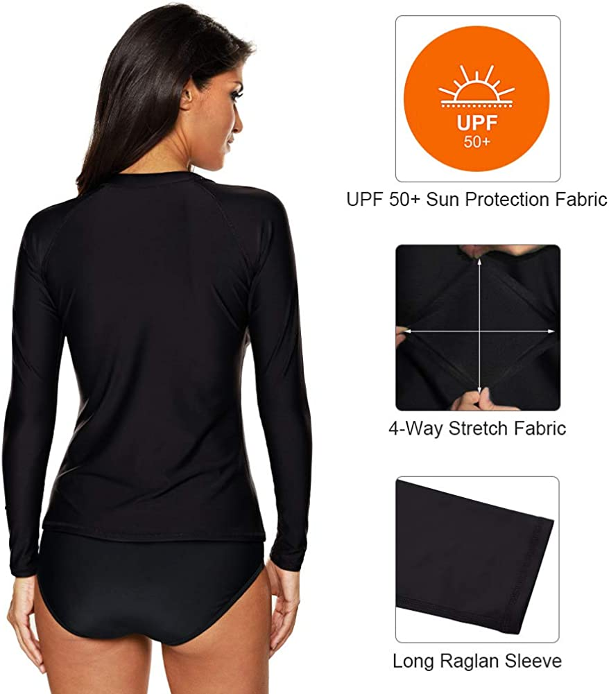 Swim Shirts Surf Swimsuit Tops CharmLeaks Womens Long Sleeve Rash Guard UPF 50