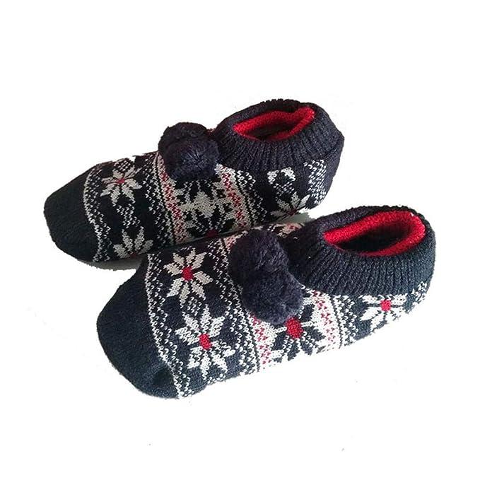 VJGOAL Moda casual para niños Calentador Calcetín transpirable Patrón de punto Zapatilla Piso Suave goma inferior Resbalón Calcetines(Un tamaño, ...