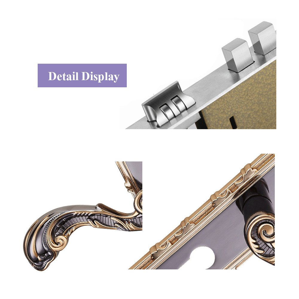 Aluminum Entry Indoor Lever Door Lock Set Bedroom Handle Knob Lockset & Keys by TFCFL (Image #4)