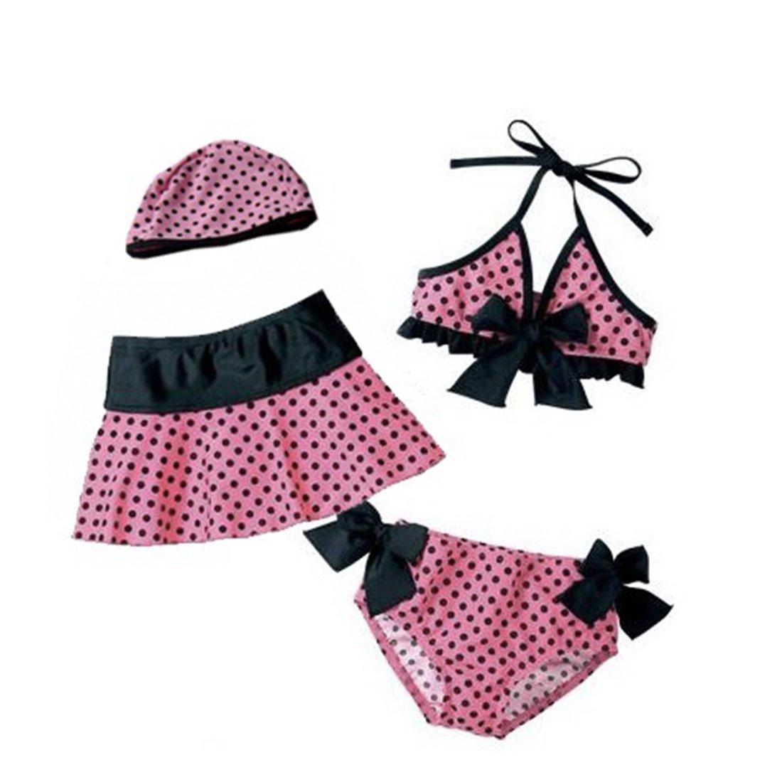 Pink Black Kids Baby Toddler Girls Swimwear Bikini Swimsuit Skirt Bather Hat 4 Piece