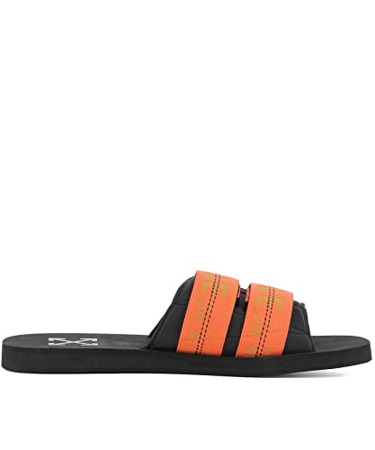 6c177e4d471 Off-White Men s Omia070s188180111019 Orange Black Fabric Sandals ...