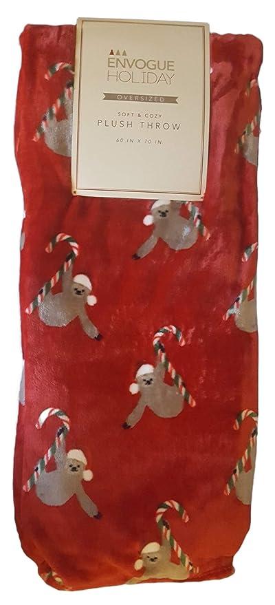 4108881ef Soft Cozy Christmas Holiday Oversized Plush Throw Blanket 60 x 70 Inch  Sloth in Santa Hat