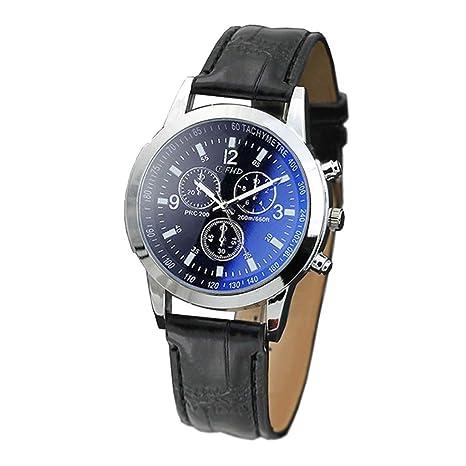 Lujo Moda cocodrilo Cuero de imitación Hombres Hombres analógico Relojes de Pulsera Azul de Yesmile
