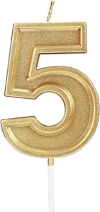 Birthday Candle Numbers Gold Glitter Happy Birthday Numeral for Weddings, Reunions, Theme Party Perfect Baby's Pet's Birthday Cake Candle (Gold, 5)
