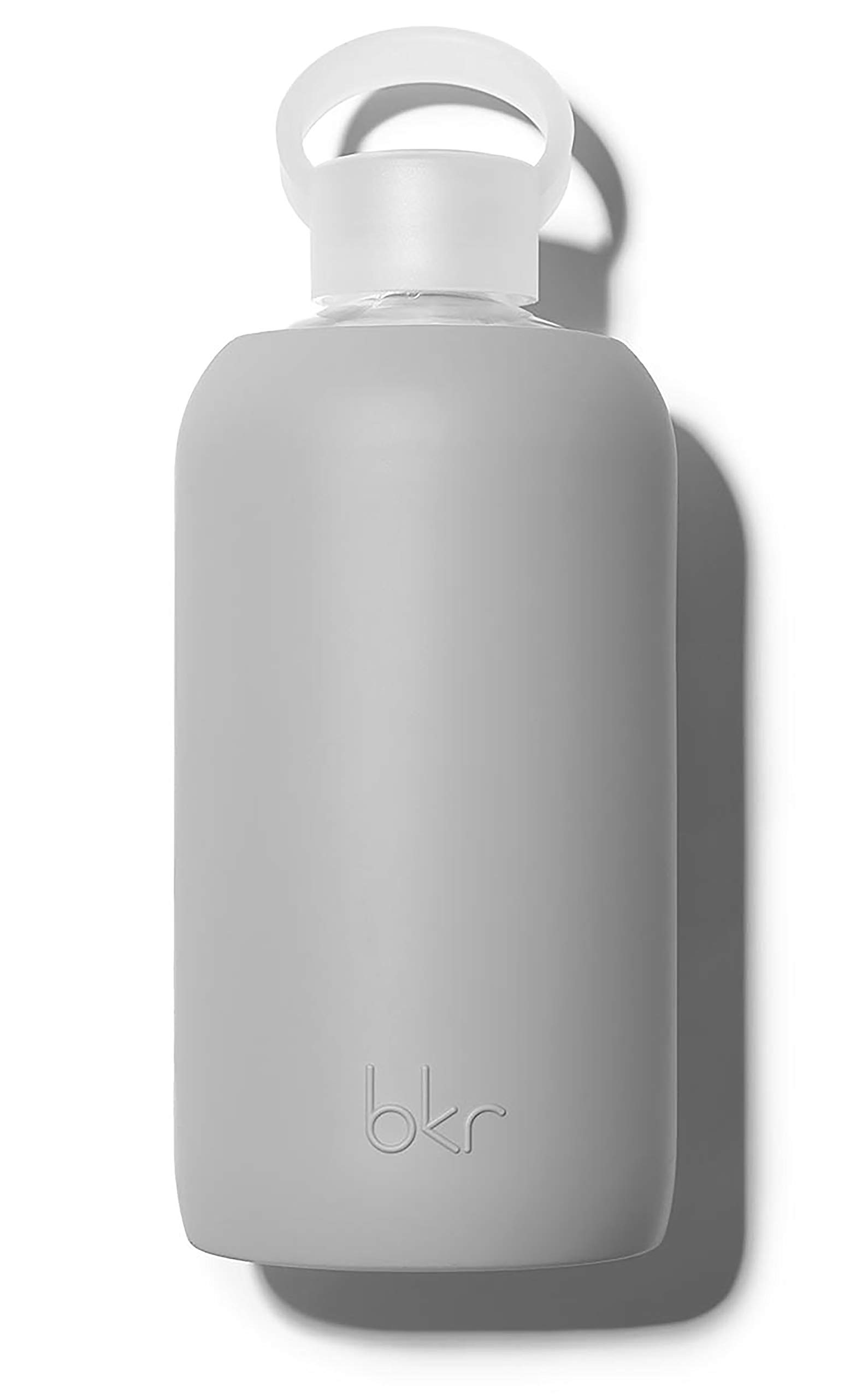 bkr London Glass Water Bottle with Smooth Silicone Sleeve for Travel, Narrow Mouth, BPA-Free & Dishwasher Safe, Opaque Cool Light Grey, 32 oz / 1 Liter