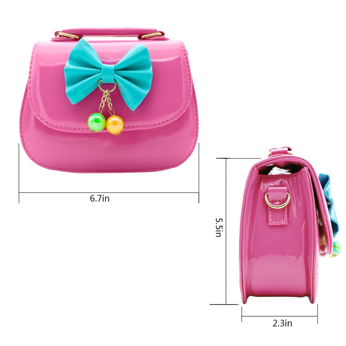 39978a3a372d Scheppend Fashion Little Girls Handbag Children Single-shoulder Bag Dual-purpose  Bag (Rosy larger image