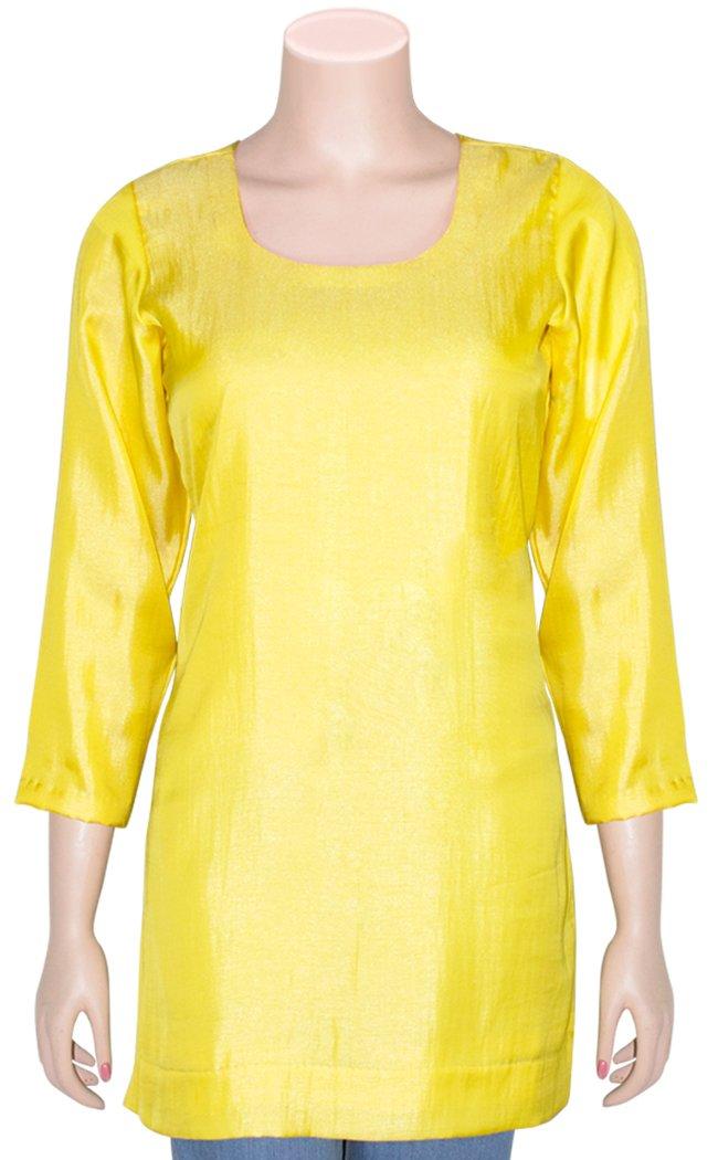 Fine Quality Viscose Silk Women's Kurti/Tunic/Top HMK172075 (L, Yellow)