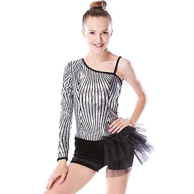 fd13ed746 MiDee Diagonal-Neck Sequins Tap   Jazz Velvet Biketard Dance Costume ...
