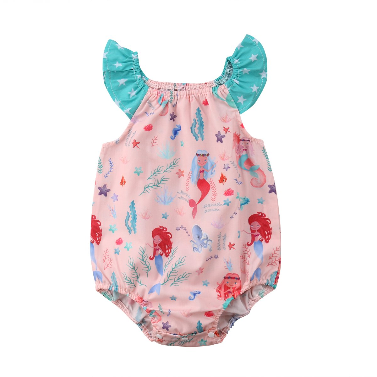 35559c96d06 Amazon.com  YAZAD Toddler Newborn Infant Baby Girl Mermaid Romper Ruffled Fly  Sleeve Bodysuit Jumpsuit Playsuit Summer Outfit  Clothing