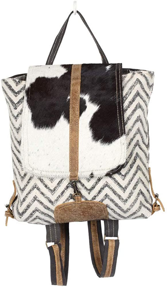 Myra Bag Frost Upcycled Canvas Cowhide Backpack S-1340