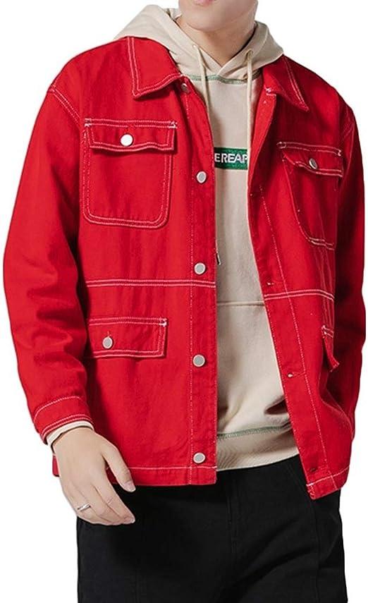 メンズデニムジャケット、アウトドアスポーツマルチポケットジャケットは通気性の光ウインドブレーカーヒップホップ防風shirtcasual摩耗襟ツーリングデニムジャケットのボタンを印刷します