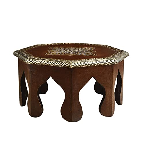 Rusticity Wooden Altar Table Pooja Chowki Plant Table Handmade 12x12x6 in