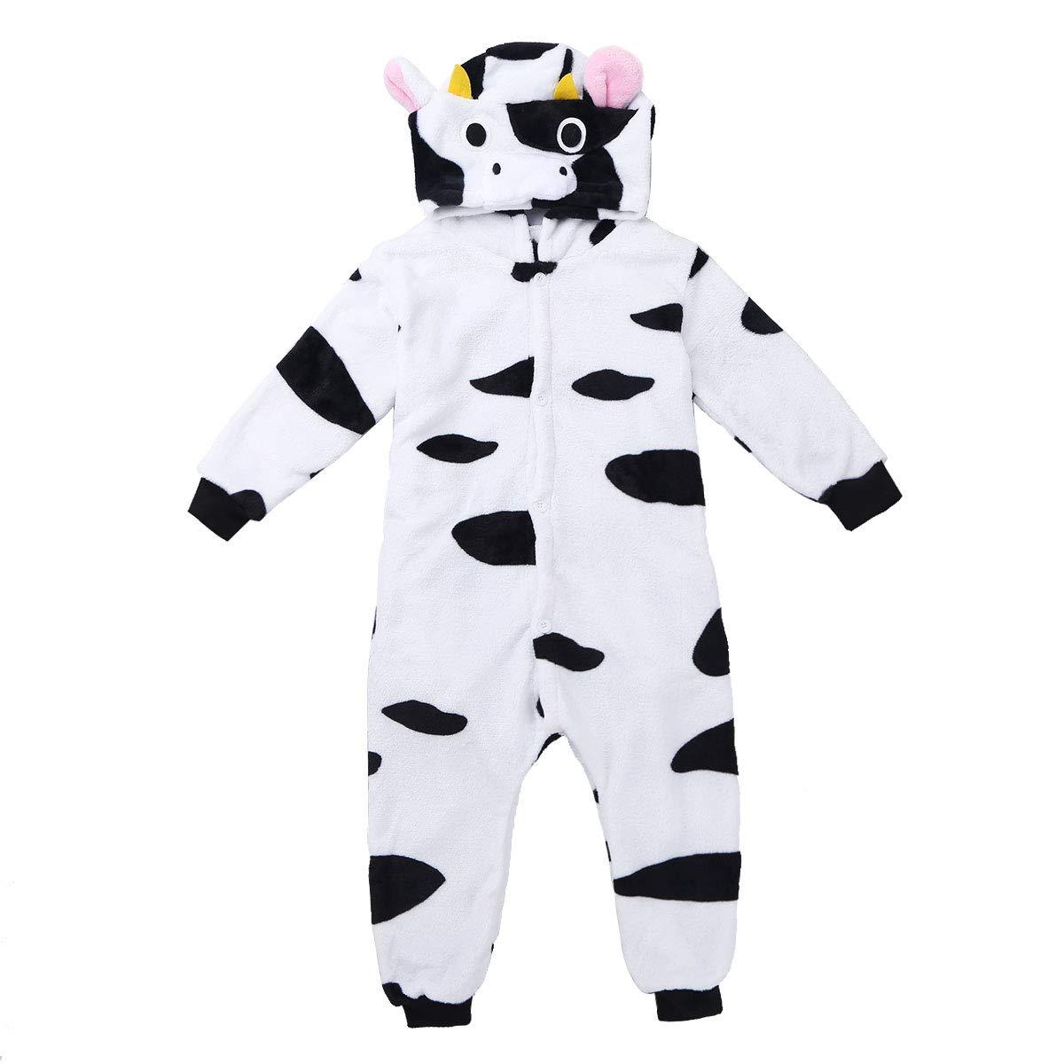 470f041502 TiaoBug Pijama Franela Animal de Vaca con Capucha y Cola Infántil para Niños  Peques Monos Ropa de Dormir con Bolsillo Disfraces Cosplay para Las  Carnavales  ...